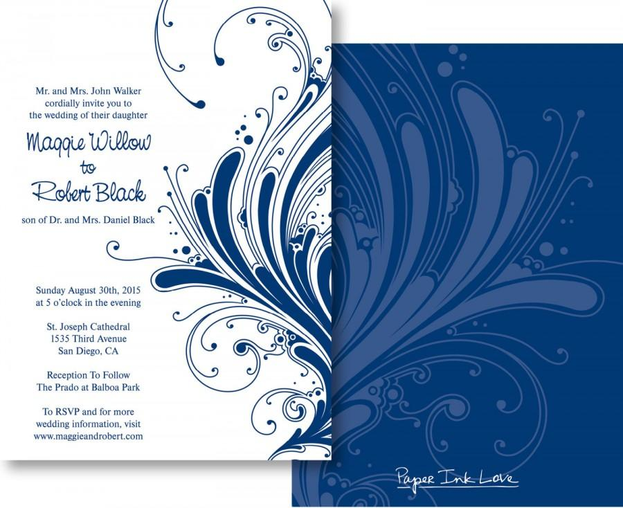 Formal Wedding Invitations Or Save The Dates In Navy Blue With Swirl