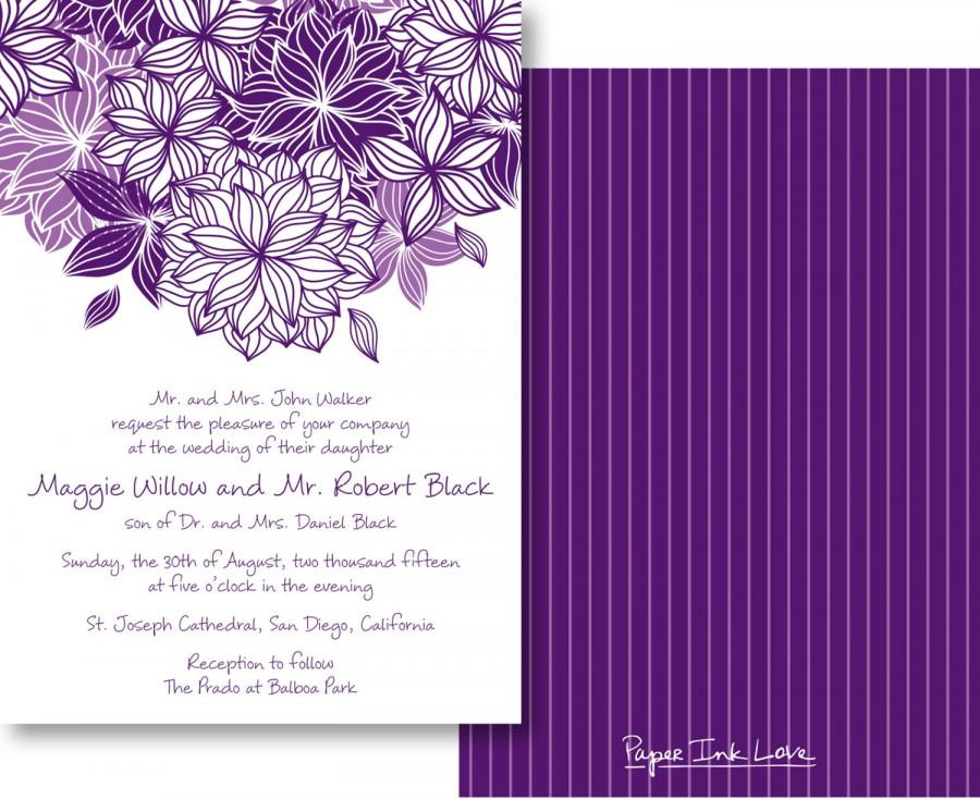 Wedding Invitations With Modern Purple Flower Pinstripes Save The Date Cards Birthday Or Invites RSVP