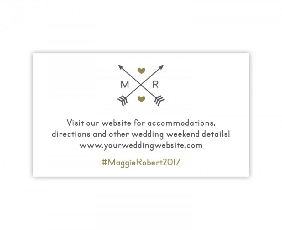 Wedding - Wedding Website Card, Wedding Hashtag Card with Arrows in Gold and Silver / Gray, Use as Wedding Gift Registry Card - Style PIL-038