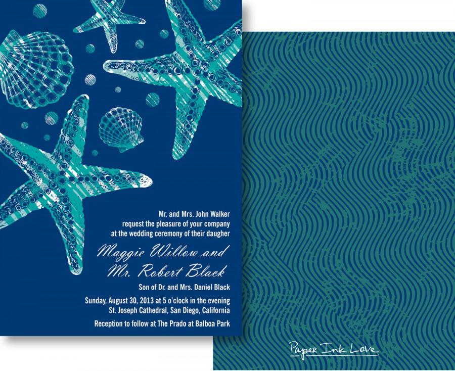 Wedding - Starfish Wedding Invitations and RSVP Cards for Destination Wedding or Beach Wedding in Blue and Teal Resort Wedding - Style PIL-018