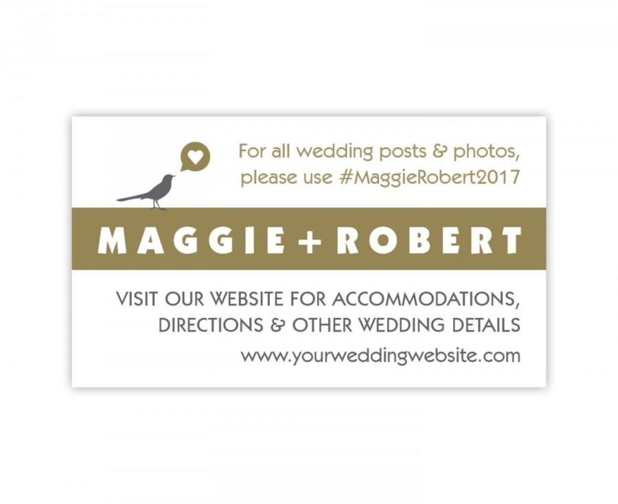 Mariage - Wedding Website Card in Gold and Silver / Gray, Wedding Enclosure Card, Wedding Hashtag or Registry Card, Small Bird & Heart - Style PIL-040