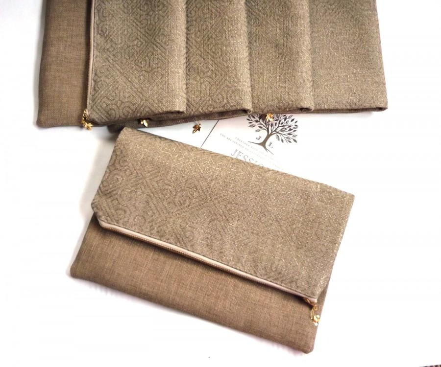 زفاف - Gold clutch, metallic purse, foldover clutch, geometric purse, bridesmaid gift, Moroccan gilt, gold wedding purse, beige fawn, bridal clutch