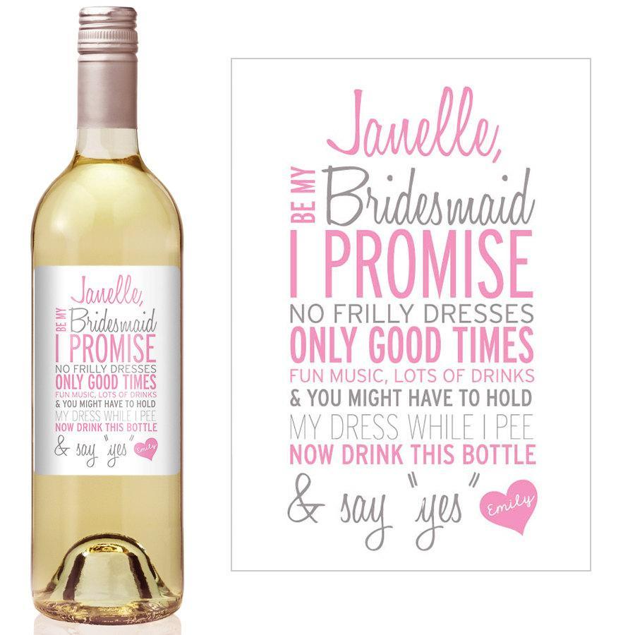 custom bridesmaid gift bridesmaid wine bottle label