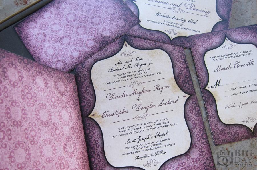 Vintage, Goth Pattern And Window Framed Wedding Invitation Set ...