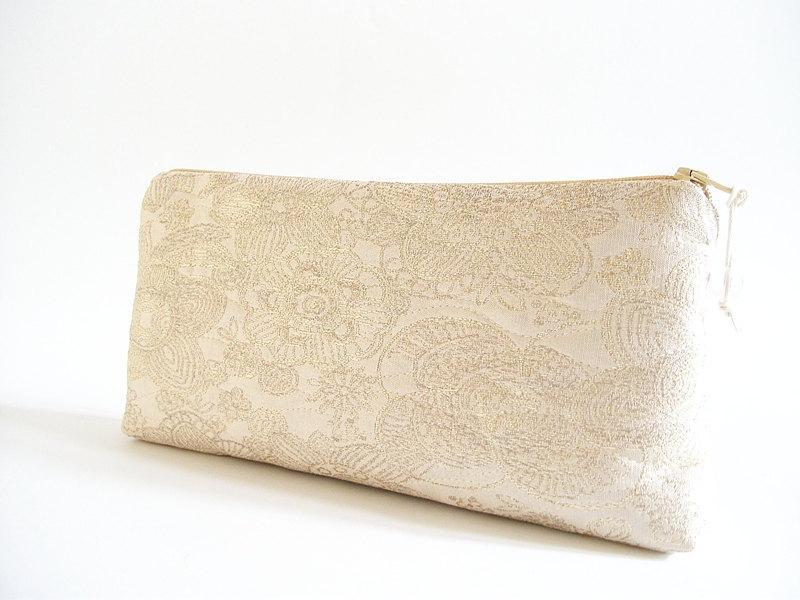 زفاف - Set of 7 Gold Wedding Clutches, Bridesmaids Bags, Silk Gold Purses, Bachelorette Party Gifts