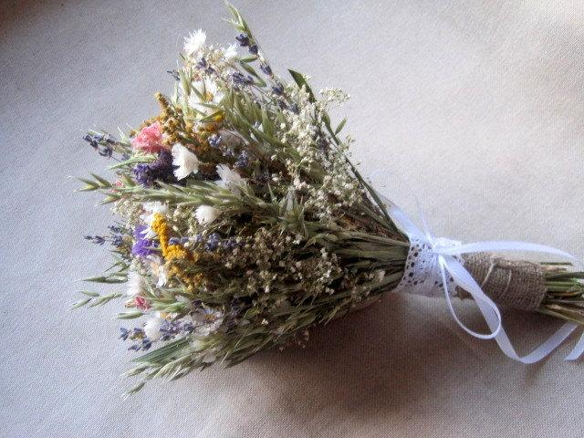 Meadow Country Wedding Dried Flower Bouquet For Rustic Garden ...