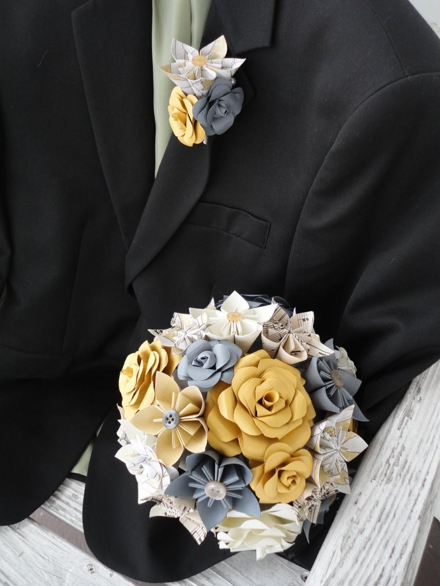 Свадьба - Paper Wedding Flowers Bridal Bouquet Rose Kusudama Gray Sheet Music Custom