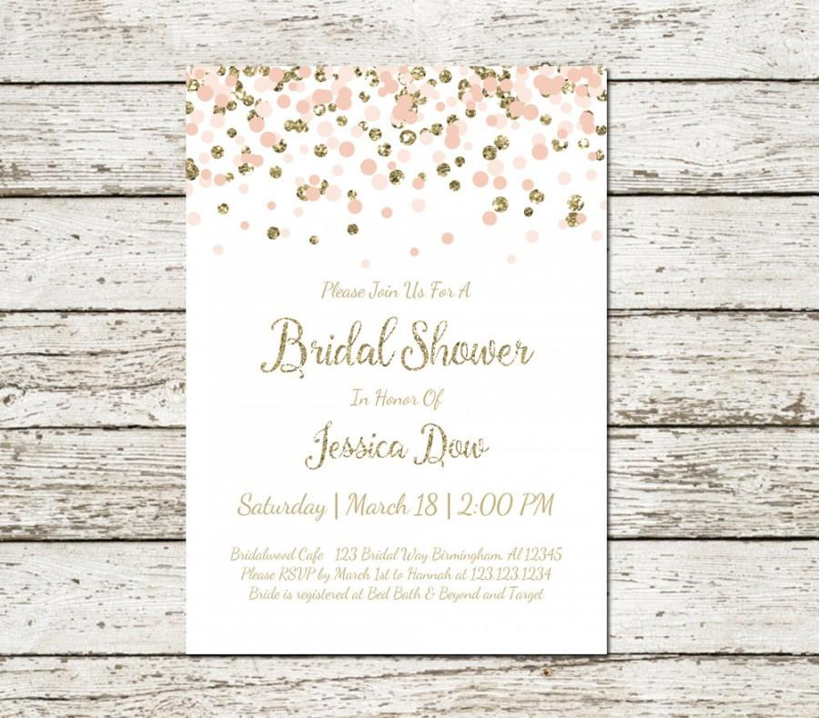 Blush Pink And Gold Bridal Shower Invitation Printable Confetti ...