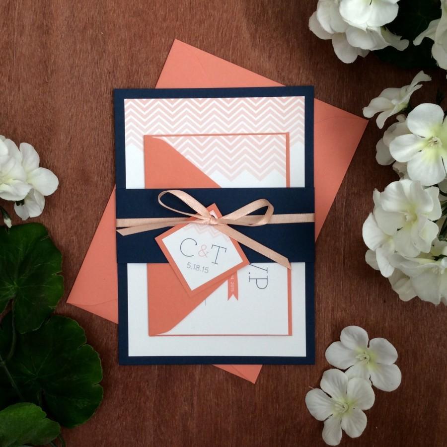 chevron wedding invitation sample in coral navy - Navy And Coral Wedding Invitations