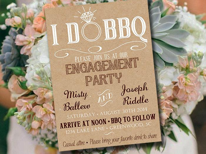 زفاف - I DO BBQ Engagement Party Invitation Template - Kraft Wedding Shower Template - Rustic Wedding Invitation - Kraft Bridal Shower Download