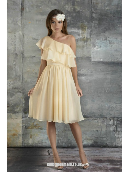 Mariage - New One Shoulder A-line Sleeveless Chiffon Knee-length Uk Bridesmaid Dresses UK