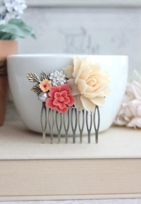 Mariage - Bridal Hair Comb. Ivory Rose, Coral Sakura, Vintage Inspired Rhinestone, White Pearl, Brass Leaf. Coral Ivory Wedding. Bridesmaids Jewelry.