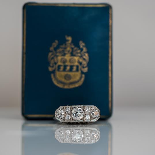 Mariage - Unique Antique Art Deco 1.20cttw Old European Diamond 14K White Gold Engagement Ring ATL #179