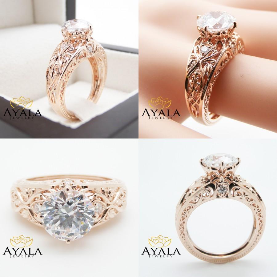 زفاف - 14K Rose Gold Filigree Right Hand Ring Antique inspired Diamond Ring