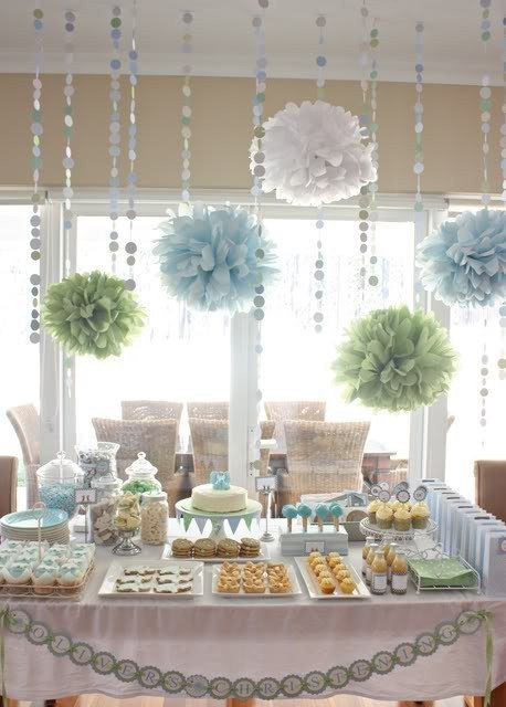 Party Decor Pack 5 Tissue Paper Poms And 12 Feet Of Pomdot