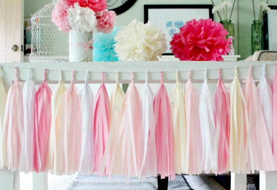 Wedding - Pink, White and Cream Tissue Paper Tassel Garland- Wedding, Birthday, Bridal Shower, Baby Shower, Garden Party Decorations