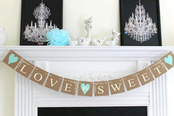 Свадьба - Love Is Sweet Banner - Wedding Garland Wedding Banner, Photo Prop - Wedding Decorations, Love Banner, Bridal Shower Decoration, Sweet Love
