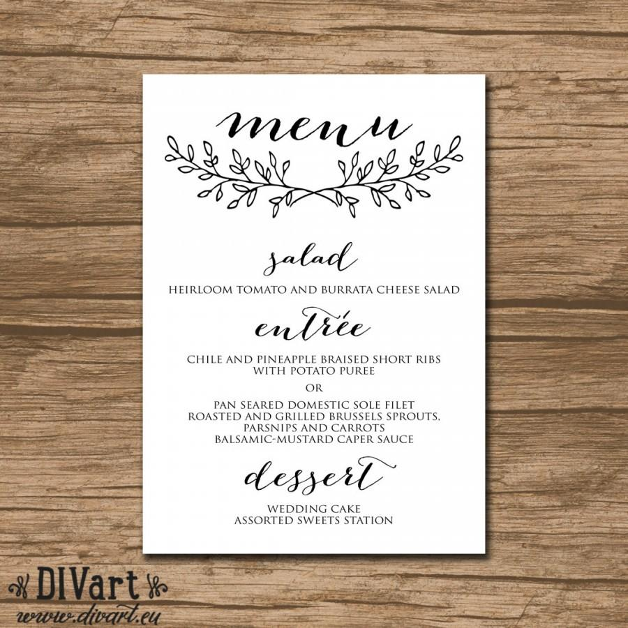 Printable Wedding Menu Rehearsal Dinner Reception Garden Black And White Or Any Colors 488