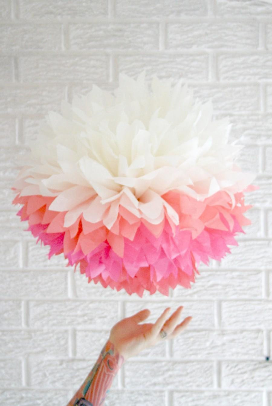 Party Decoration ... JUMBO Pink Ombre ... 1 Tissue Paper Pom ...