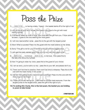 graphic about Baby Shower Pass the Prize Rhyme Printable identified as Do-it-yourself - Child Shower Things #2493587 - Weddbook