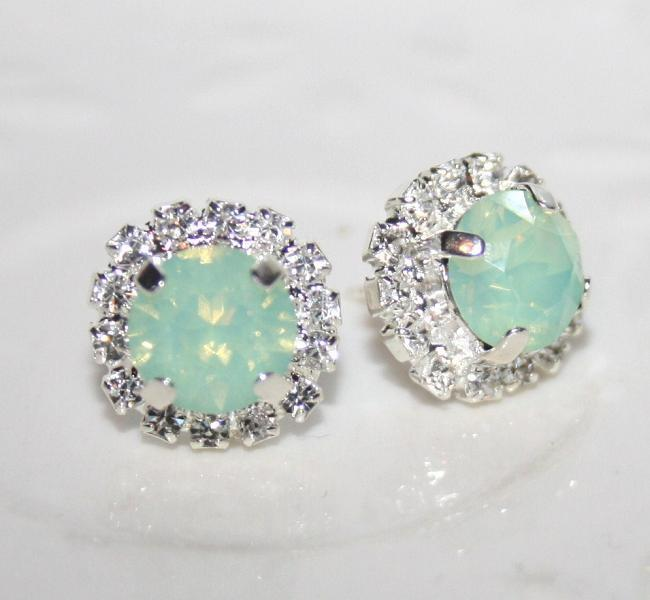 Seafoam Mint Green Earrings Silver Swarovski Stud Chrysolite Opal Crystal Wedding Bridal Ear Studs Bridesmaid