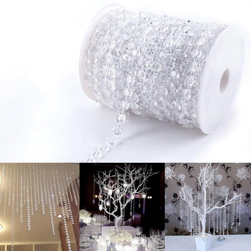 Hochzeit - 30m/99ft Crystal Garland Hanging Diamond Strands Chandelier Wedding Manzanita Christmas Tree Decoration