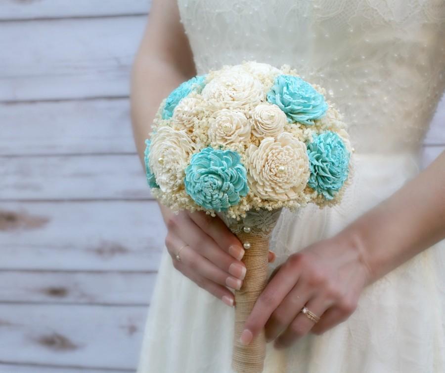 Ready To Ship, Aquamarine Wedding Bouquet, Lasting Wedding Flowers,  Keepsake Bouquet, Small Bridal Bouquet, Sola Wood Bouquet, Babyu0027s Breath