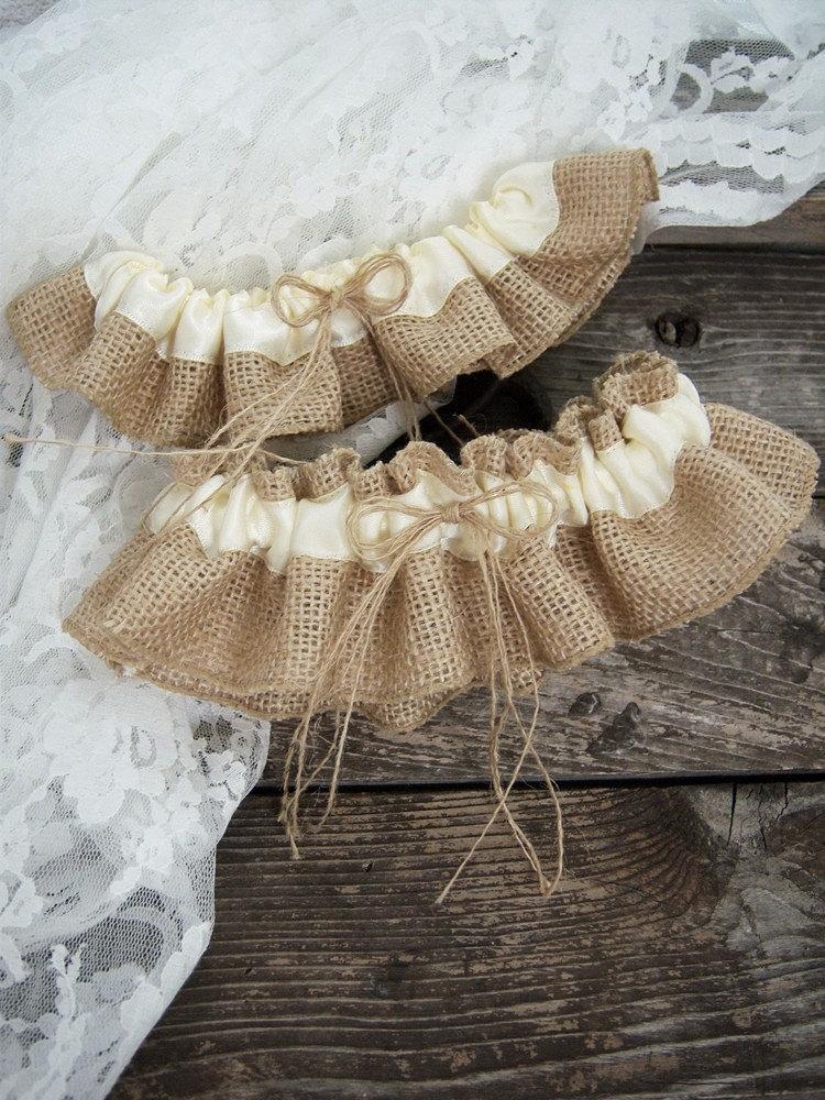 Hochzeit - Natural Burlap Wedding Garter Set/Wedding Bridal Garter Set/Wedding Rustic Garter Set/Ivory Garte Set /Choose Your Color