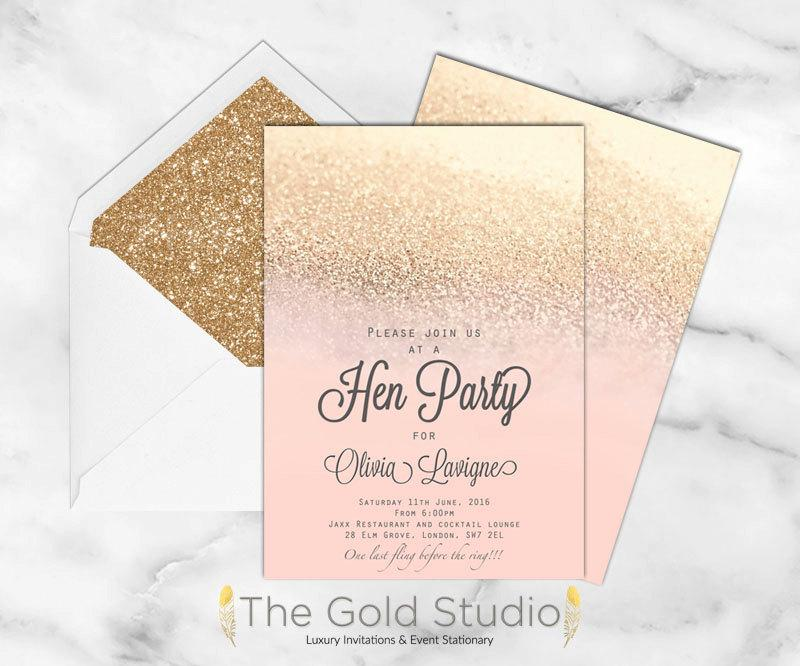 Blush Peach And Gold Glitter Hen Party Invitation, Elegant Bridal ...