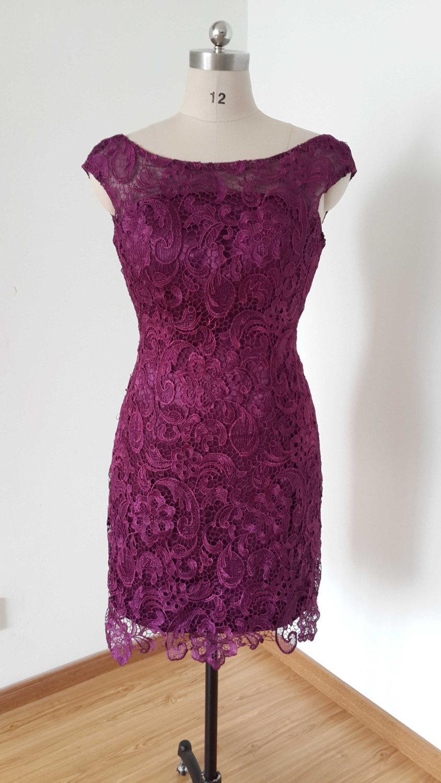 Wedding - 2015 Cap Sleeves V-back Grape Lace Short Bridesmaid Dress
