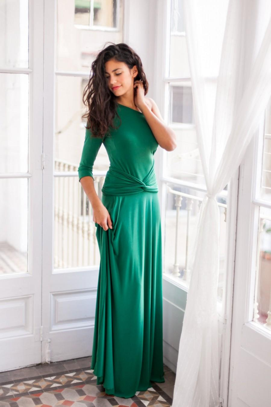 One shoulder emerald green bridesmaid dresses www for One sleeve wedding dress
