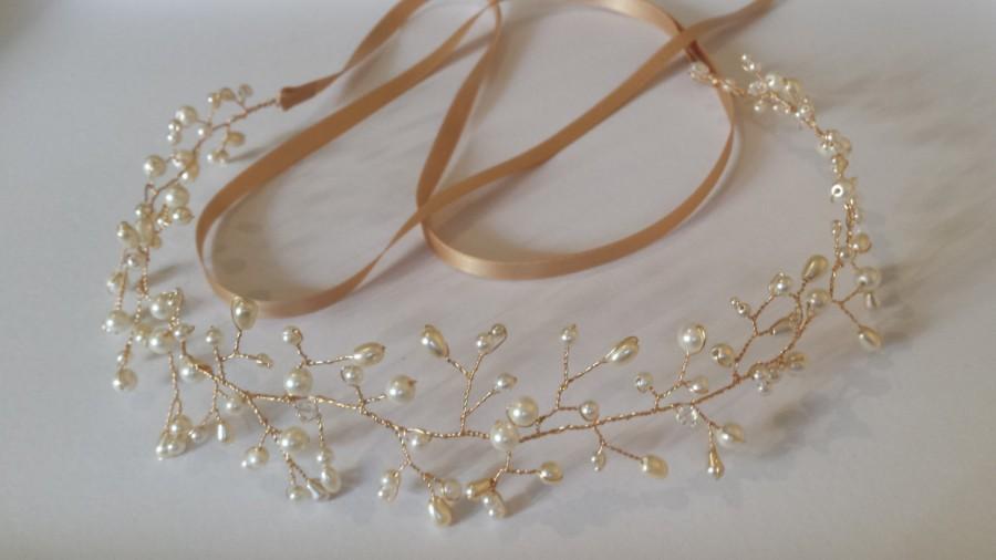 Свадьба - Gold hair vine, pearl hair vine, bridal crown, bohemian headpiece, hair wreath, bridal hair vine