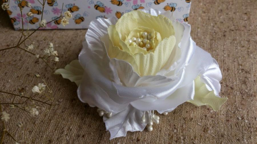 Bridal Hair Comb Rose Clip Yellow And White Girl Accessory Wedding Accessories