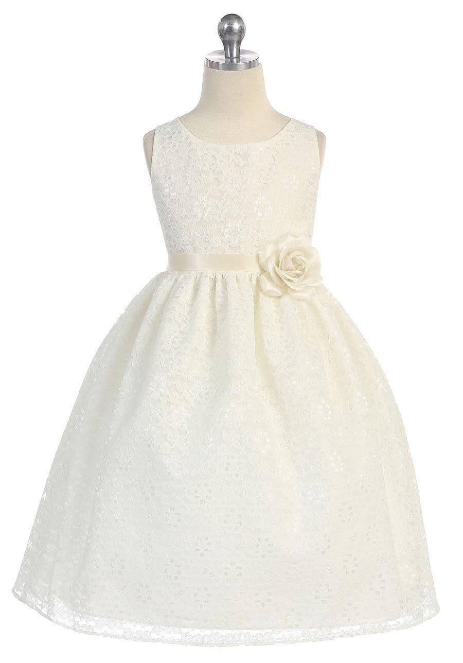 Gorgeous Lace Flower Girl Dress With Silk Flower Pin 2493809 Weddbook
