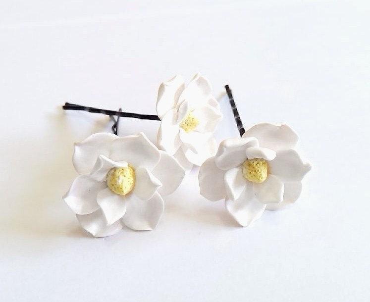 White magnolia flower hair clips flower accessories magnolia white magnolia flower hair clips flower accessories magnolia wedding hair accessories wedding hair flower hair set mightylinksfo