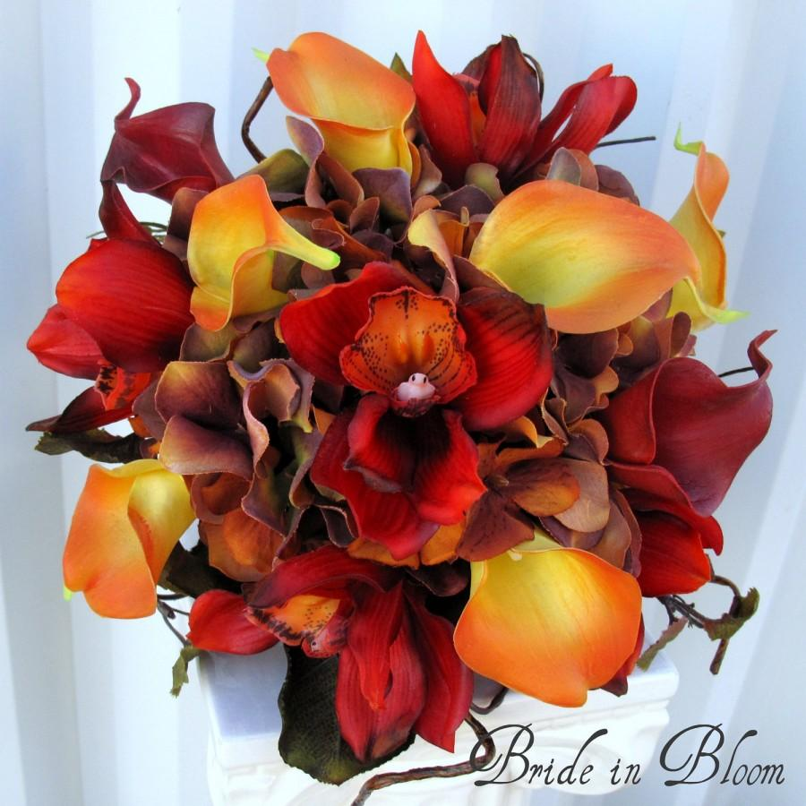 Hochzeit - Wedding bouquet autumn fall bridal bouquet real touch orchids calla lilies red orange brown