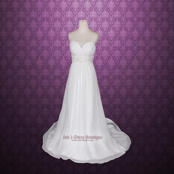 Grecian Wedding Dress With Detachable Cap Sleeves Destination