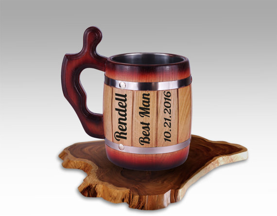 Wedding - Personalized Groomsman Gift, Laser Etched Wooden Mug, Wedding, Gift for the Best Man, Tankard, Anniversary Gift, Beer Stain, Custom Gift