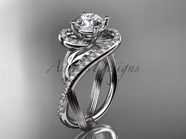 Mariage - Unique 14kt white gold diamond leaf and vine wedding ring, engagement ring ADLR222