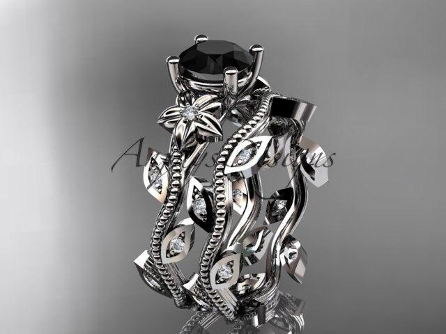 Mariage - platinum diamond leaf and vine wedding ring, engagement ring, engagement set with a Black Diamond center stone ADLR151S
