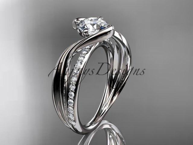 Свадьба - 14kt  white gold diamond leaf and vine wedding ring,engagement ring ADLR78