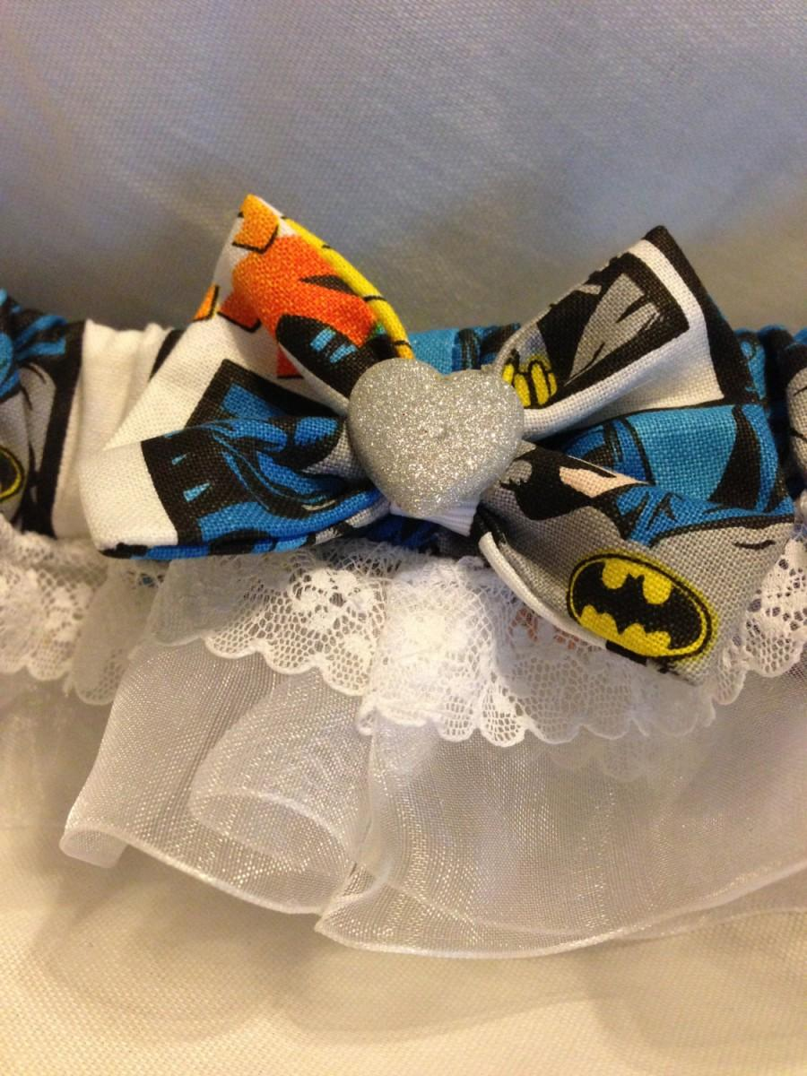 زفاف - Custom Batman comic book prom or wedding garter