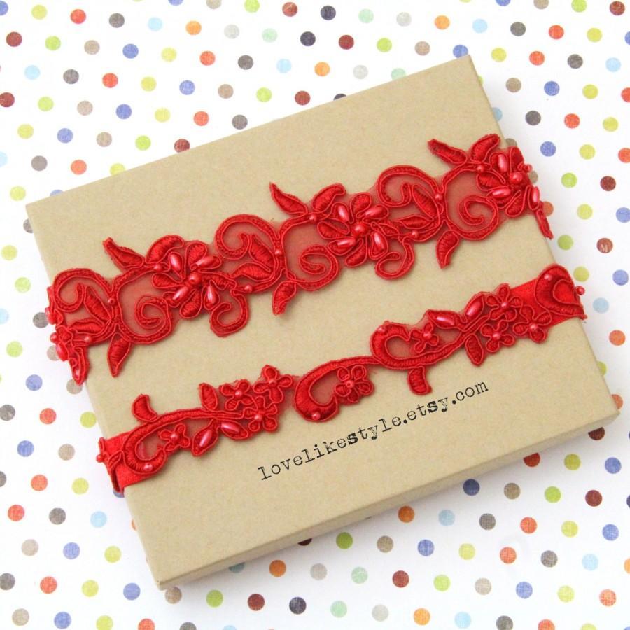 Hochzeit - Red Beaded Lace Wedding Garter Set, Red Lace Garter Set, Toss Garter , Keepsake Garter / GT-21A