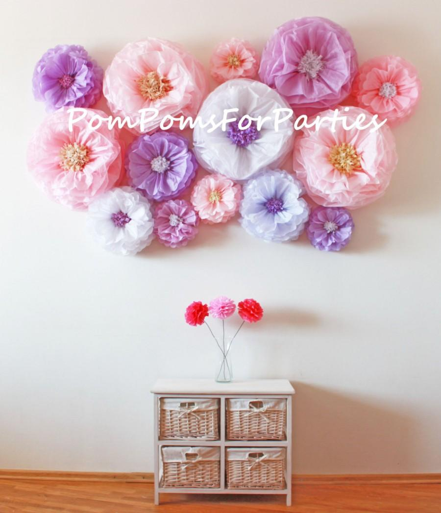 Wall Decor Flowers flower backdrop wall. oversized paper flowers 20 units!! wedding