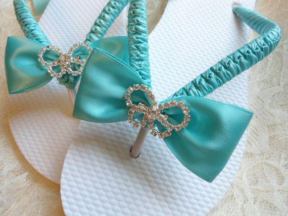زفاف - Aqua Blue Wedding Sandals. Bridal Flip Flops Decorated W/ Rhinestone Butterfly
