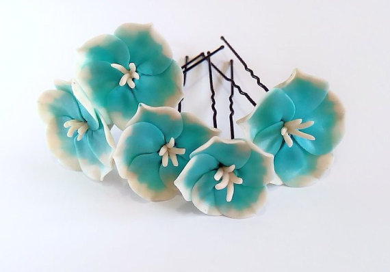 Wedding - Turquoise Flower Hair Pins, Woodland. Bridal. Weddings. Flower Hair Clip, Hair Accessories, Turquoise wedding, Hair clips flowers Set of