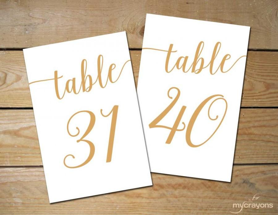 photograph regarding Printable Table Number named Printable Desk Figures 31-40 // Bella Script Gold Desk