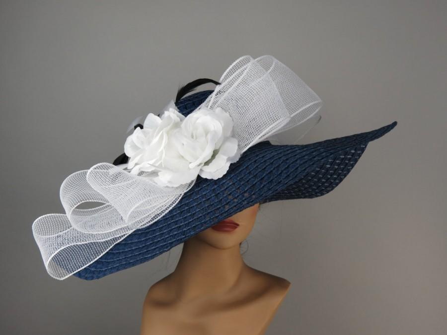 Women Hat Navy Blue Hat Big White Bow Kentucky Derby Hat Party Summer Hat  Women Hat d18ea58c647