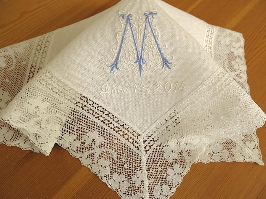 Wedding Handkerchief Ivory Color Irish Linen Lace With Clic Zundt 1 Initial Monogram