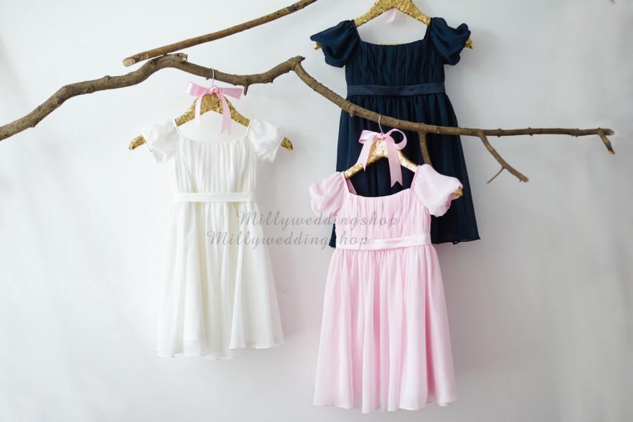 Свадьба - Bobo Beach Cap Sleeves Ivory/Navy Blue/Pink Chiffon Flower Girl Dress Junior Bridesmaid Wedding Party Dress M008